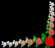 Fondo negro con las fronteras de rosas Imágenes de archivo libres de regalías