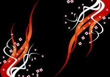 Fondo negro con las llamas y las flores Foto de archivo libre de regalías