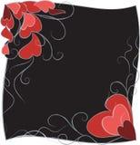 Fondo negro con los corazones. Imagen de archivo libre de regalías