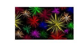 Fondo negro con los fuegos artificiales coloridos - ejemplo ilustración del vector