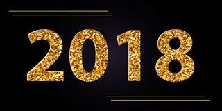 Fondo negro de la Feliz Año Nuevo 2018 del vector con confeti del brillo del oro Plantilla superior festiva del diseño para la ta Foto de archivo