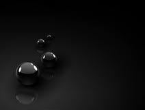 Fondo negro de las bolas del cromo Imagen de archivo