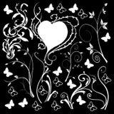 Fondo negro de los elementos del diseño floral Imagenes de archivo