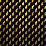Fondo negro de los gatos de Cat Pattern Faux Foil Metallic del oro Foto de archivo