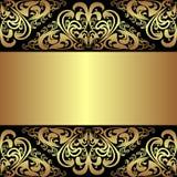 Fondo negro de lujo con las fronteras reales de oro Fotos de archivo