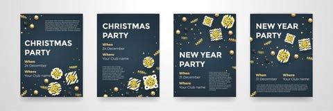 Fondo negro de oro del diseño del vector de los carteles del partido de las vacaciones de invierno del Año Nuevo de la Navidad libre illustration