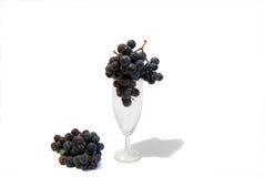 Fondo negro del blanco de las uvas Fotografía de archivo