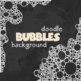Fondo negro del cuadrado del grunge con las burbujas de jabón blancas ilustración del vector
