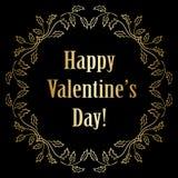 Fondo negro del vector con las decoraciones del oro - tarjetas del día de San Valentín felices Fotografía de archivo