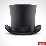 Fondo negro del vector del cilindro del sombrero del caballero Fotos de archivo