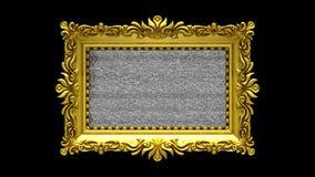 Fondo negro El ruido de la TV y la croma verde cierran juegos en la pantalla en marco adornado del oro introducción animada 3d libre illustration