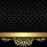 Fondo negro elegante con la cinta de oro Fotografía de archivo libre de regalías