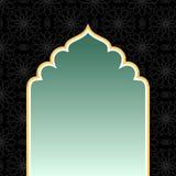 Fondo negro islámico con el arco de oro stock de ilustración
