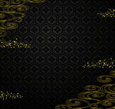 Fondo negro japonés con el polvo y el río de oro. Foto de archivo libre de regalías