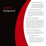 Fondo negro-rojo-blanco del vector abstracto Foto de archivo