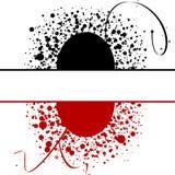 Fondo negro rojo de los círculos de los puntos Imágenes de archivo libres de regalías