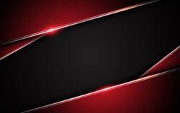 Fondo negro rojo metálico abstracto del concepto de la innovación de la tecnología del diseño de la disposición del marco