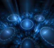 Fondo negro y azul Círculos con los rayos borrosos Mot leve ilustración del vector