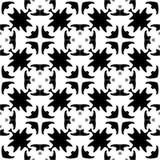 Fondo negro y blanco geométrico floral inconsútil decorativo del modelo Imagen de archivo libre de regalías
