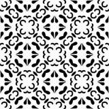 Fondo negro y blanco geométrico floral inconsútil decorativo del modelo Imagen de archivo