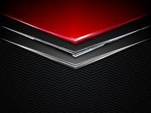 Fondo negro y rojo del metal Bandera metálica del vector Fondo abstracto de la tecnología