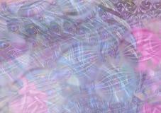 Fondo nei rose ed in blu con le piume del pavone Immagine Stock