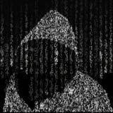 Fondo nello stile della matrice Caratteri casuali di goccia in bianco e nero Sui precedenti di un pirata informatico nel cappucci Fotografia Stock