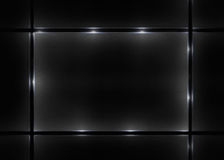 Fondo nero alla moda e vetrina illuminata Fotografia Stock
