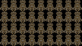 Fondo nero astratto con i modelli pieghi del vecchio oro, quadro televisivo im Fotografia Stock