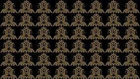 Fondo nero astratto con i modelli pieghi del vecchio oro, quadro televisivo im Immagine Stock
