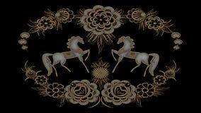 Fondo nero astratto con i modelli pieghi dell'argento e dell'oro, Ra Fotografia Stock Libera da Diritti