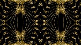 Fondo nero astratto con il modello dell'oro per la progettazione di te Fotografie Stock Libere da Diritti