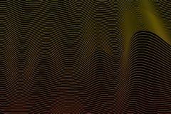 Fondo nero astratto con la linea forma gialla di illusione Immagini Stock
