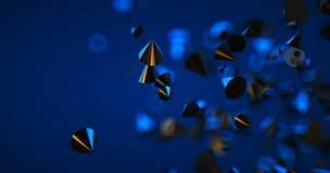 Fondo nero astratto con le forme, la profondit? di campo e il bokeh geometrici Contesto futuristico al neon 3d rendono fotografie stock