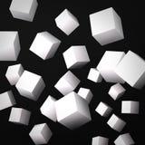 Fondo nero astratto fatto dei cubi bianchi Immagine Stock
