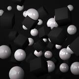 Fondo nero astratto fatto delle sfere bianche e dei cubi neri Royalty Illustrazione gratis