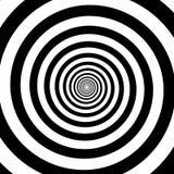 Fondo nero bianco del modello di turbinio di spirale di vettore di illusione ottica dell'estratto ipnotico dei cerchi Immagine Stock