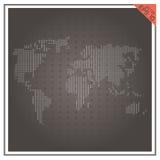 Fondo nero bianco della carta di vettore del mondo della mappa Immagine Stock Libera da Diritti