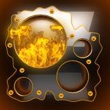 Fondo nero caldo del metallo con fuoco Fotografia Stock