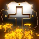 Fondo nero caldo del metallo con fuoco Fotografie Stock