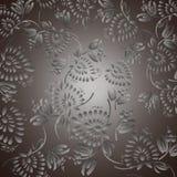 Fondo nero con i fiori e le foglie d'argento Fotografia Stock