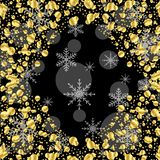 Fondo nero con i lustrini ed i fiocchi di neve dell'oro Fotografie Stock Libere da Diritti