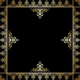 Fondo nero con l'ornamento vittoriano dorato Illustrazione di Stock