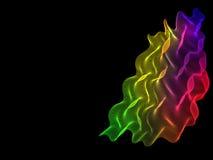 Fondo nero con le linee astratte dell'arcobaleno Fotografie Stock