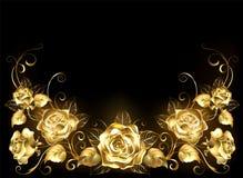 Fondo nero con le rose dell'oro Fotografia Stock