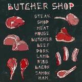 Fondo nero del bordo Carne messa con iscrizione Steakhouse o macellaio Shop o menu del ristorante Agnello, carne di maiale, costo Immagini Stock