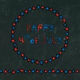 Fondo nero del bordo U.S.A. festa dell'indipendenza iscrizione felice del 4 luglio nel telaio Baloons, stelle, bandiera Cartolina Fotografia Stock