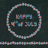 Fondo nero del bordo U.S.A. festa dell'indipendenza iscrizione felice del 4 luglio nel telaio Baloons, stelle, bandiera Cartolina Fotografie Stock