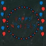 Fondo nero del bordo U.S.A. festa dell'indipendenza iscrizione felice del 4 luglio nel telaio Baloons, stelle, bandiera Cartolina Fotografia Stock Libera da Diritti