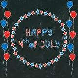 Fondo nero del bordo U.S.A. festa dell'indipendenza iscrizione felice del 4 luglio nel telaio Baloons, stelle, bandiera Cartolina Fotografie Stock Libere da Diritti